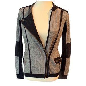 Nicole Miller Artelier Moto Sweater Jacket